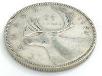 1949 Canada Twenty Five 25 Cent Quarter Canadian Circulated George VI Coin J789