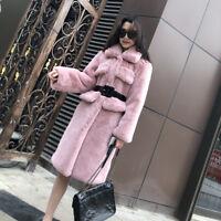 Women Rex rabbit fur Coat Long Sleeve Winter Parka Outwear Belt Warm Jacket