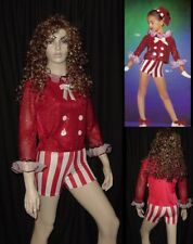 Red Light Dance Costume Ruffled Sequin Top and Stripe Shorts Circus Adult Medium