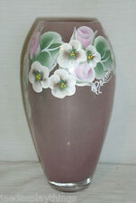 """Art Glass Vase Pink Hand Blown Painted Signed Domino 7.5"""""""