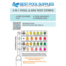 Swimming Pool & Spa Water 4 in 1 Test Strips-Chlorine-PH-Alklalinity-Cyanuric