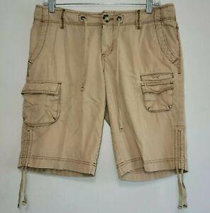 Eddie Bauer Shorts Womens 6 Cargo Pocket Tan Khaki Button Cotton Twill Cinched