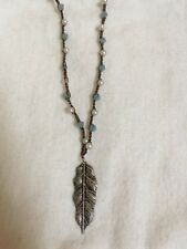 Necklace with Feather Charm Handcrafted Crochet Pearl Beaded