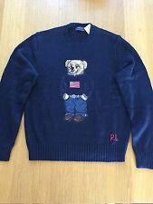 $265 NWT Polo Ralph Lauren Men's Teddy Bear Polo USA Flag Sweater Navy -2XLT
