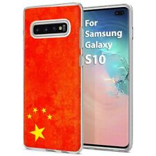 Thin Gel Phone Case Samsung Galaxy S10,Oldflag China Red Five Star Nation Print