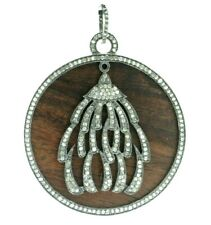 Wood and Pave Diamond Round Shape Designer Pendant 925 Sterling Silver Jewelry
