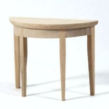 Dolls House Furniture: Natural Wood Curved Side Table : 12th scale