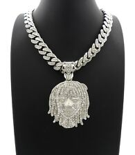 """New Lil Pump Piece With 12mm 18"""" Ice Bling Box Lock Miami Cuban Link Chain"""
