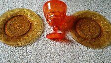 2 TIARA Ornate AMBER LUNCHEON Plates & Orange Dish on Pedestal Mint Shape