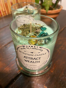 Attract Wealth Intention Candle/Soy Wax Candle/Herb & Crystal Candle