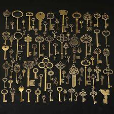90Pcs Large Antiqued Gold Skeleton Keys Pendants wedding vintage old style lot G