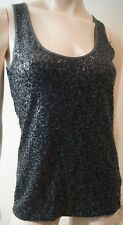 J CREW Cotton Charcoal Grey & Black Sequin Embellished Sleeveless Vest Cami Top