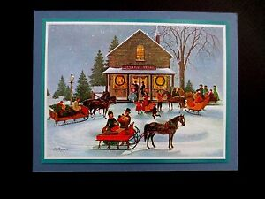 "AAG Sample Xmas Greeting Card by Charlotte Sternberg  ""The Village Store"" Lovely"