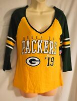 women's Team Apparel top size small green/yellow 3/4 sleeve Green Bay packers