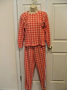 frederick's of hollywood 2pc RED/WHITE  thermal top/pant  pj set Small