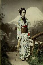 GEISHA GIRL UMBRELLA JAPANESE VINTAGE TINT PHOTOGRAPH  CANVAS ART PRINT