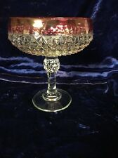 Vintage Indiana Clear Glass Diamond Compote Ruby Red Cranberry Rim
