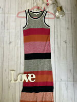 Next Size 8 fitted pencil midi pink orange knitted summer holiday dress VGC