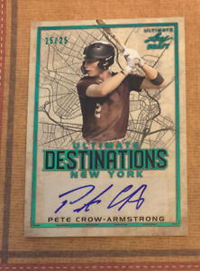 PETE CROW-ARMSTRONG 2020 Leaf Ultimate Draft Destinations Emerald AUTO #'d 25/25