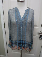 LUCKY BRAND XS V Neck Button Up Sheer Boho Western Long Sleeve Tunic Blouse Top