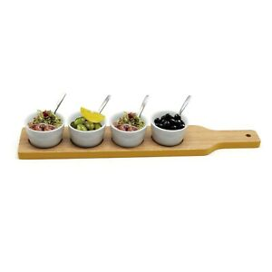 Wooden Paddle Porcelain Nibbles Bowls Snack Dip Tray Appetizer Tapas Serving Set