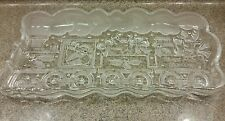 Gorham Crystal North Pole ExpressTrain Frosted Scalloped Tray Candy Dish Santa