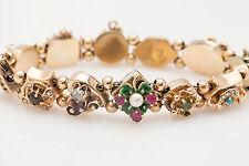 Antique 1940s Natural Gem Diamond 14k Yellow Gold SLIDE Charm Bracelet 33g