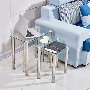 Square Nest of 3 Tables Glass Nested Side End Tables Set Clear Modern Home Decor