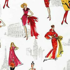 Anne Tavoletti's City Chic Sketches Fab ANO-14483-195 Bright Robert Kaufman BTY