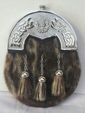 Scottish Kilt Original Seal Skin Full Dress Sporran Chrome Thistle Cantel