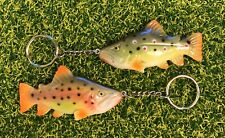 FiSH i Trout Keyrings. Bown & Raninbow Trout. Fly Fishing Keyrings. Anglers Gift