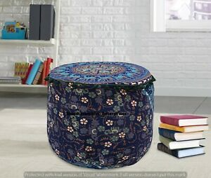 Indian Mandala Ottoman Pouf Boho Round Pouffe Ethnic Cotton Floor Bean Bag Cover