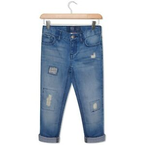 Ragazze Sottile Affliggere Denim Jeans Blu Denim Strappato 4-16 Anni