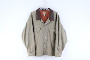 Vintage 90s Marlboro Mens XL Leather Collar Flannel Lined Denim Trucker Jacket