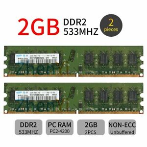 For Samsung 4GB 4G 2x 2GB 2Rx8 DDR2 533MHz PC2-4200U DIMM RAM Desktop Memory BT