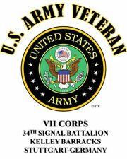 VII CORPS* 34TH SIGNAL BATTALION * KELLEY BARRACKS ARMY SHIRT,SWEAT,HOODIE