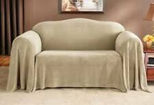 Sure Fit Plush Throw  in Taupe/Beige