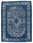Vintage Turkish Overdyed Rug, 10'x13', Blue/Ivory, Hand-Knotted Wool Pile