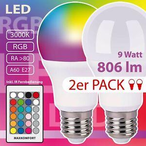 2er Pack LED RGB CCT Leuchtmittel Farbwechsel dimmbar 2x E27 9W Fernbedienung