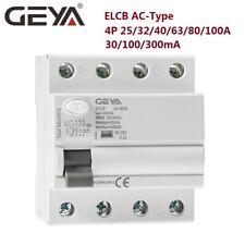 Elcb Circuit Breaker 4Pole 25/40/63/80/100Amp 30/100/300mA 10kA Ac-Type Rccb