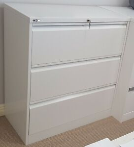 GO Steel White Lateral 3 Drawer Filing Cabinet Near New NSW