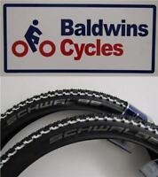 "PAIR CHEAP MTB TYRES 26"" x 2.25 SCHWALBE SMART SAM WHITE LINE MTB Bike Tyres"