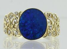 Hallmarked 9ct Yellow Gold Opal and Diamond Dress Ring REF2074