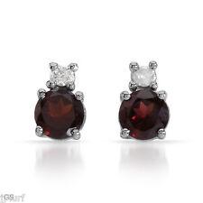 Genuine Diamond and Garnet Stud Earrings, 1.00ctw in Solid 10k White Gold