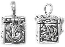 Sterling Silver Vintage Charm Necklace Pendant Prayer/Wish Box KeepSake .925