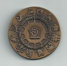 1970 ISRAEL LOTTERY - 20th ANNIVERSARY AWARD MEDAL 45mm 40gr BRONZE