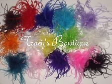 "13 Girls Curly Ostrich Feather Puffs Hair Bows on Lined Alligator Clips 5""- 6"""