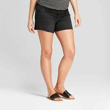 Ingrid & Isabel Maternity Inset Panel Midi Jean Shorts – Black Sizes 14 16 18 #7