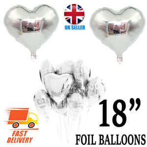 """18"""" SILVER Love Heart Foil Helium Balloons Wedding Party Birthday Decoration"""
