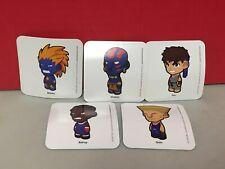 Lot Of 5 Street Fighter Kid Robot Stickers Capcom Ryu Guile Blanka Balrog Blue